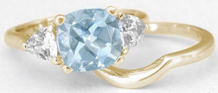 2.65 ctw Aquamarine and White Sapphire Engagement Ring in 14k yellow gold
