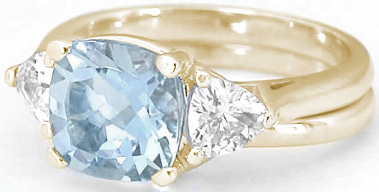 Cushion Cut Aquamarine Engagement Rings In Three Stone Design With