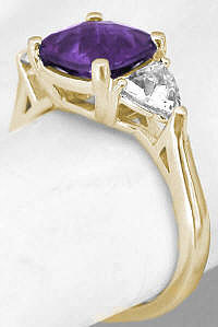 Cushion Amethyst 3 Stone Rings in 14k Yellow Gold
