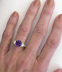 Cushion Amethyst Trillion White Sapphire 3 Stone Ring in 14k Yellow Gold