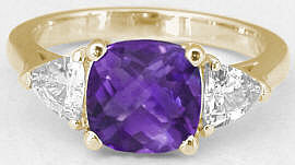 Amethyst 3 Stone Ring in 14k Yellow Gold