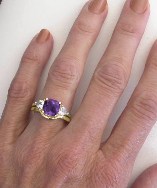 Cushion Cut Amethyst White Sapphire Engagement Ring And