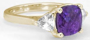Amethyst White Sapphire Ring in 14k Yellow Gold