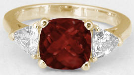Cushion Garnet Trillion White Sapphire Ring in 14k Yellow Gold
