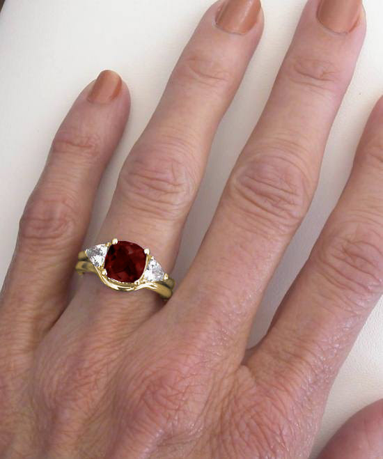 garnet white sapphire engagement ring in 14k yellow gold with matching band