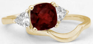 Cushion Garnet Engagement Rings in Yellow Gold