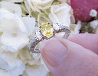 Platinum Oval Natural Yellow Sapphire Wedding Ring with Real Side Diamonds in 14k white gold band