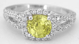 1.80 ctw Round Cut Yellow Sapphire and Diamond Engagement Ring in 18k white gold