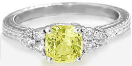 Yellow Sapphire Diamond Ring in 14k white gold with Engraving