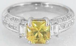 Radiant Cut Bright Yellow Sapphire and Diamond Engagement Ring