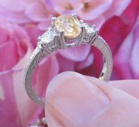 Natural Oval Yellow Sapphire and Diamond Engagement Ring with Ornate 14k white gold band for sale