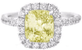 Cushion Cut Yellow Sapphire Diamond Halo Engagement Ring