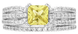 Princess Cut Yellow Sapphire Engagement Ring with Matching Band