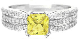 Princess Cut Yellow Sapphire Diamond Ring in 14k white gold