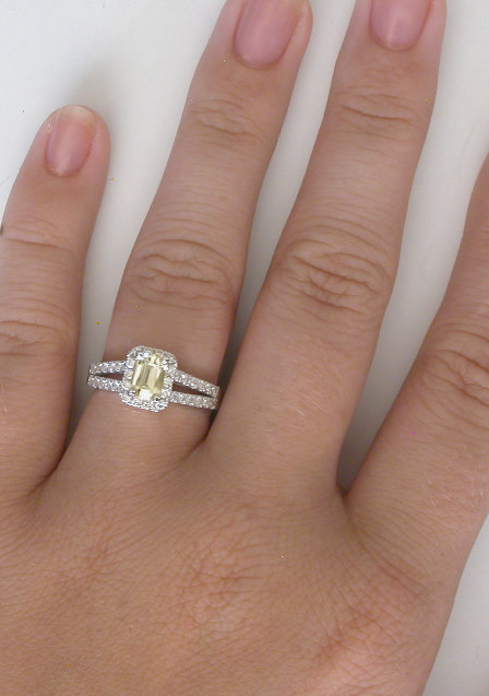 Yellow Sapphire Ring Emerald Cut Yellow Sapphire Rings with
