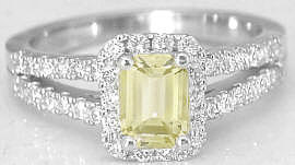 Emerald Cut Yellow Sapphire and Diamond Halo Engagement Ring in 14k white gold