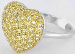2.0 ctw Pave Yellow Sapphire Heart Ring in 14k white gold