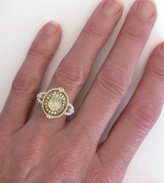 unheated natural oval yellow sapphire ring with white