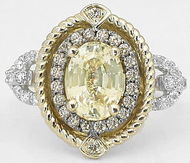 Unheated Oval Yellow Sapphire and Diamond Ring in 14k gold