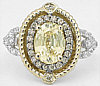 2.31 ctw Unheated Yellow Sapphire and  White and Chocolate Diamond Ring in 14k white gold
