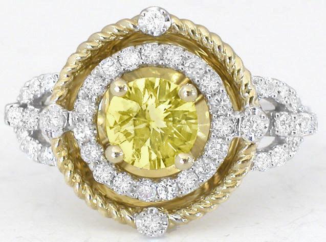 Yellow Sapphire Ring Round Yellow Sapphire And Diamond