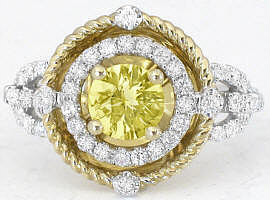 Unique 1.43 ctw Yellow Sapphire and Diamond Engagement Ring two tone gold