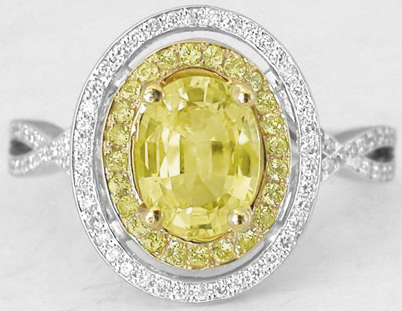 Oval Yellow Sapphire And Double Halo Ring With Yellow