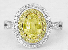 Oval Yellow Sapphire and Double Diamond Halo Engagement Ring in 14k white gold