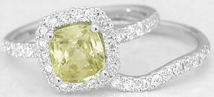 Cushion Yellow Sapphire Engagement Ring and Matching Band