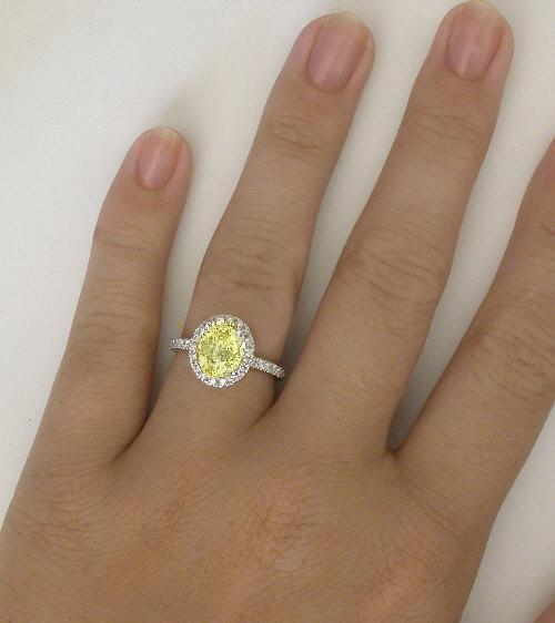 Oval Canary Yellow Shire Diamond Halo Wedding Rings