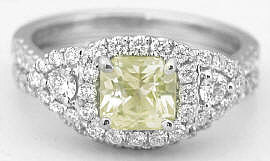 Radiant Cut Yellow Sapphire and Diamond Engagement Ring in 18k white gold
