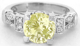 Round Yellow Sapphire Ring in 14k white gold