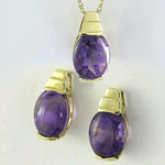 Amethyst Earrings and Pendant in 14k gold