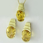 Citrine Earring and Pendant Set in 14k yellow gold