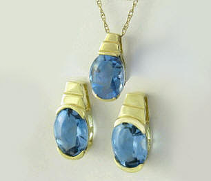 Blue Topaz Earrings and Pendant in 14k yellow gold. Gift set.