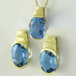 Blue Topaz Earring and Pendant Set in 14k yellow gold