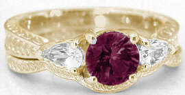 Rhodolite and White Sapphire Engagement Set in 14k Gold