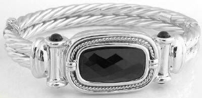 14k White Gold Bangle with Faceted Onyx Center in 14k white gold