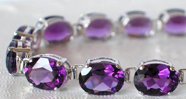 Oval Cut Amethyst Line Bracelets In 14k White Gold Gb 2002