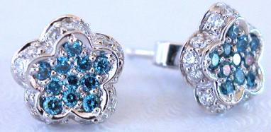 Blue & White Diamond Pave Flower Earrings in 18k white gold