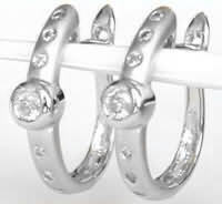 0.34 ctw Satin Finished Multi Diamond Earrings in 14k White Gold