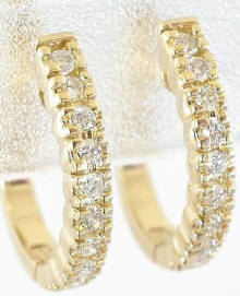 0.36 ctw Diamond  Hoop Earrings in 14k Yellow Gold