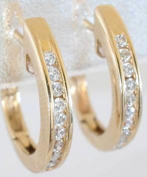 a64523206d535 0.37 ctw Diamond Hoop Earrings in 14k Yellow Gold (DE-1075 )