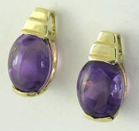 2.6 ctw Oval Faceted Buff Top Amethyst Earrings in 14k Yellow Gold