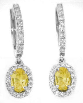 Oval Yellow Sapphire and Diamond Halo Drop Earrings in 14k white gold
