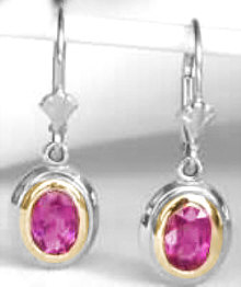 1.70 ctw Rubellite Tourmaline Earrings in 14k white and yellow gold
