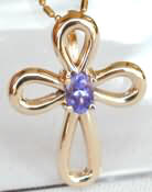 0.5 carat Tanzanite Cross Pendant in 14k