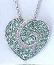 Pave Tsavorite and Diamond Heart Pendant in 14k