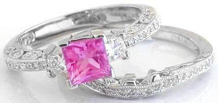 Platinum Pink Sapphire Wedding Set Princess Cut And Diamond