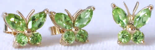 Peridot Butterfly Necklace and Earrings Set in 14k Yellow Gold